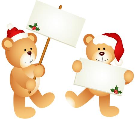 letreros: Navidad osos de peluche con letreros