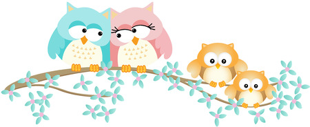 owl family: Cute owl family on spring tree branch