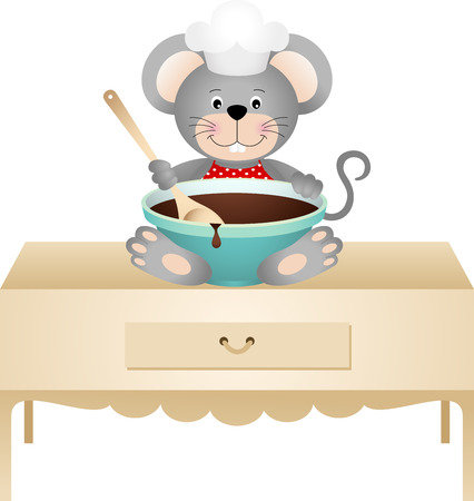 cook cartoon: Cook mouse with bowl of chocolate