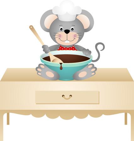 cocina caricatura: rat�n cocinero con taz�n de chocolate