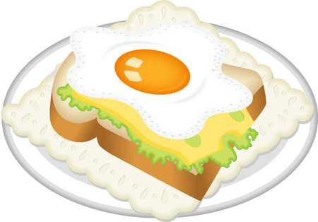 fried egg: Sandwich from fried egg Illustration