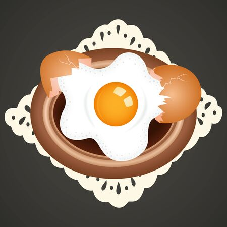 fried: Fried egg on dish background