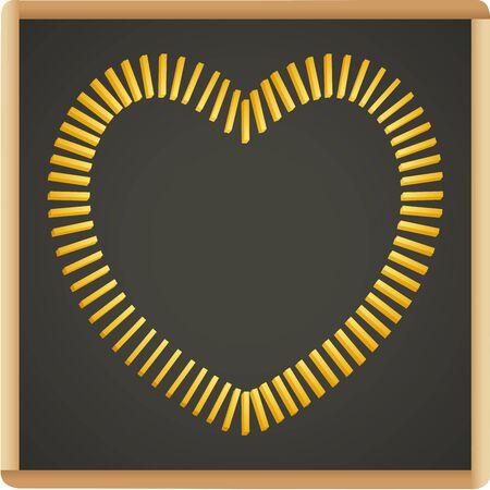 slate: Slate blackboard with french fries shaped heart Illustration