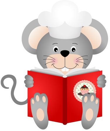 cartoon kitchen: Rat�n que lee un libro de cocina Vectores
