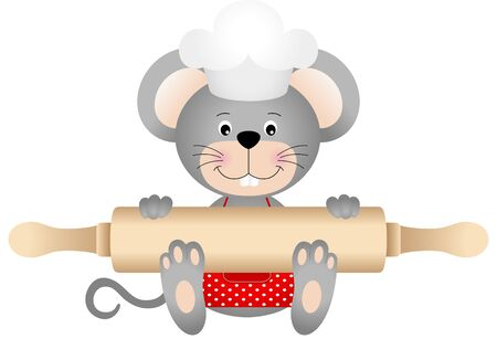 chef clipart: Mouse holding rolling pin
