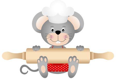kitchen cartoon: Rat�n que sostiene un rodillo Vectores