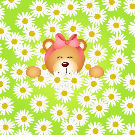 flower clip art: Teddy bear girl flower garden daisy background Illustration