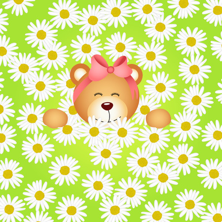 jubilation: Teddy bear girl flower garden daisy background Illustration