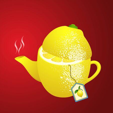 antioxidant: Tea makers shaped lemon Illustration
