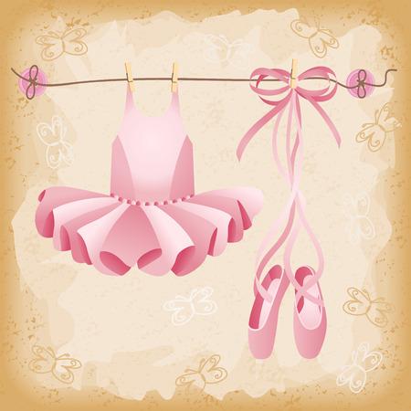 ピンクのバレエ シューズやチュチュ背景