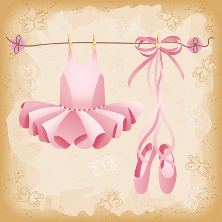 ballet slippers: Pink ballet slippers and tutu background