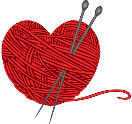 knitting: Wool knitting heart shape
