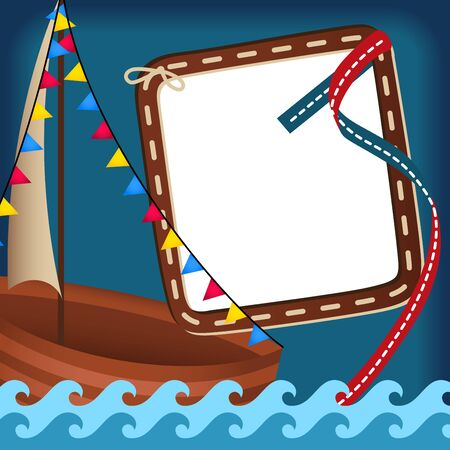 scrapbook frame: Vintage scrapbook nautical card with frame