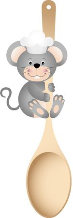 eating lunch: Cook mouse holding wooden spoon