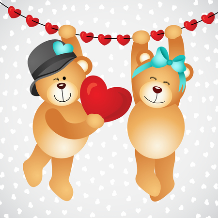 cartoon wedding couple: Hanging teddy bears with hearts Illustration