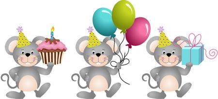 Anniversaire mignon mouses Vecteurs
