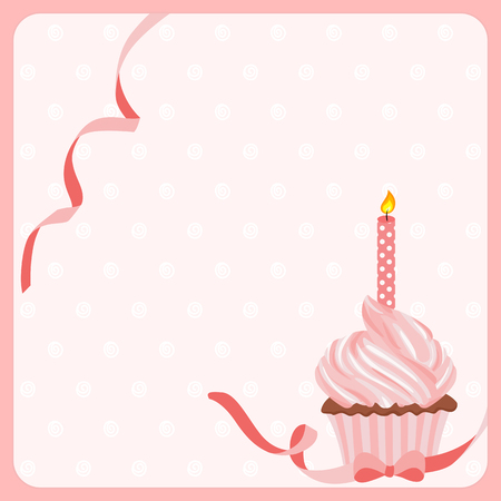 one girl: Birthday girl cake background with one candle Illustration