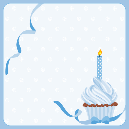 cartoon birthday cake: Birthday boy cake background with one candle Illustration