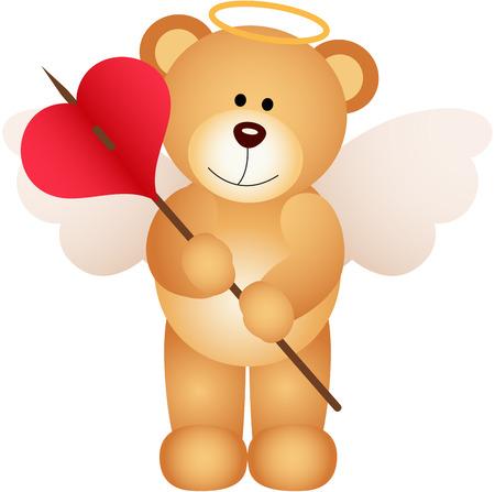 loving: Cupid teddy bear with heart Illustration