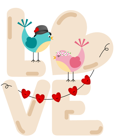 14th: Cute couple birds with love word letters Illustration
