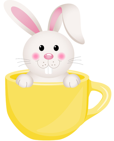 egg cups: Easter bunny in teacup Illustration