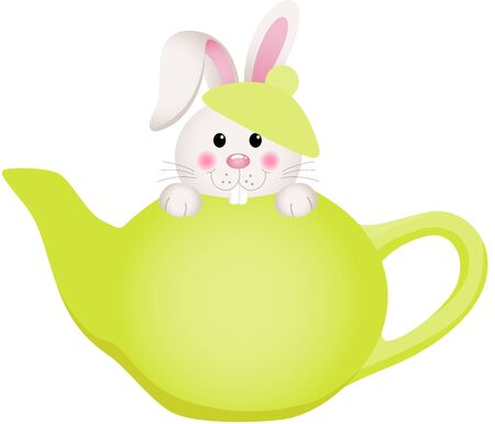 clip art people: Easter bunny in teapot