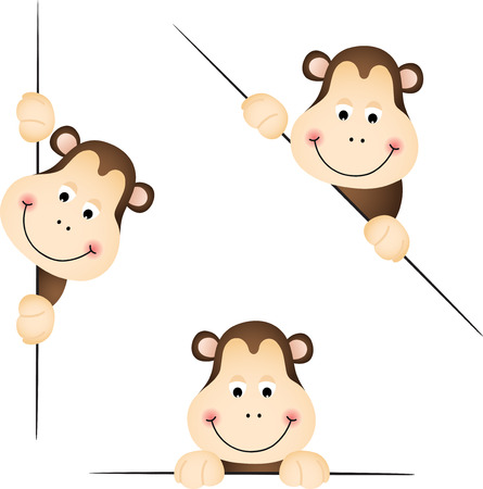 animal heads: Cute monkey peeking from behind in various positions Illustration