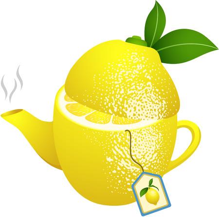 fruit cartoon: Tea makers shaped lemon Illustration