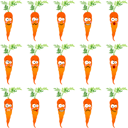 countenance: Carrots with different expressions