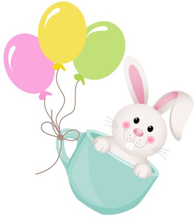 baby animals: Easter bunny in teacup with balloons