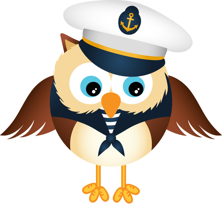 aves caricatura: Búho lindo marinero