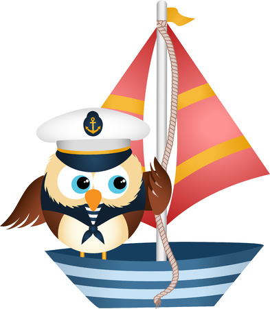 owl vector: Sailor owl in a boat Illustration