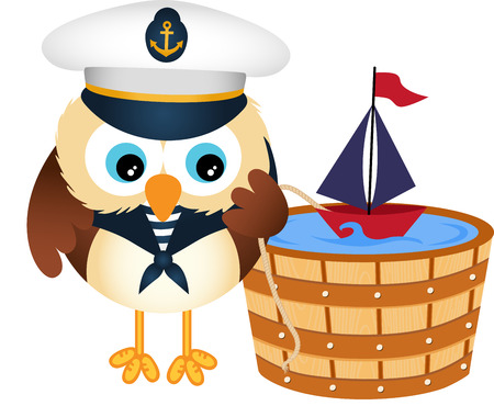 owl vector: Cute sailor owl