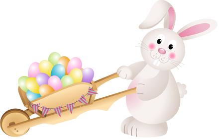 wheel barrow: Bunny carrying wheel barrow full with carrots Easter eggs