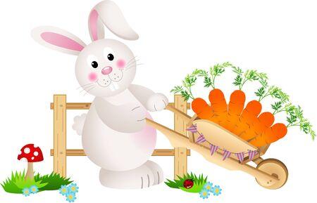 wheel barrow: Easter bunny carrying wheel barrow full with carrots