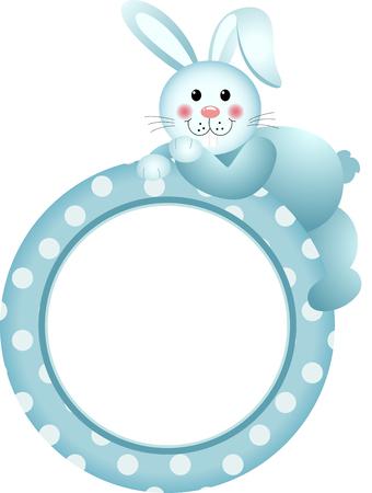 marco cumpleaños: El bebé marco redondo del conejito