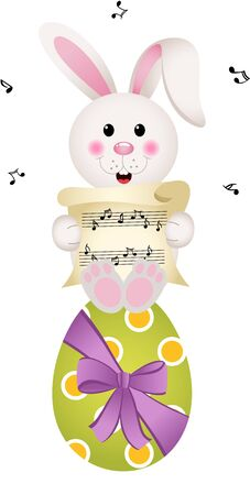 chocolate egg: Easter bunny singing on chocolate egg