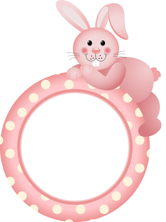 shapes cartoon: Baby girl round frame bunny