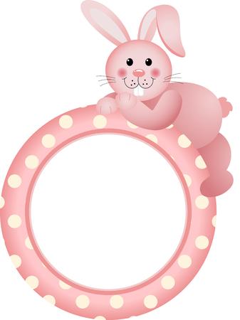 marco cumpleaños: Bebé conejito marco redondo