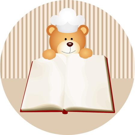 cookbook: Teddy bear with blank cookbook