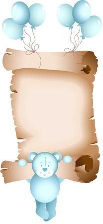 grimy: Baby boy teddy bear parchment Illustration