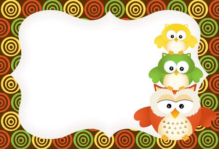 cheerful cartoon: Cute owls label
