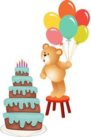 blowing out: Teddy bear blowing out Birthday candles