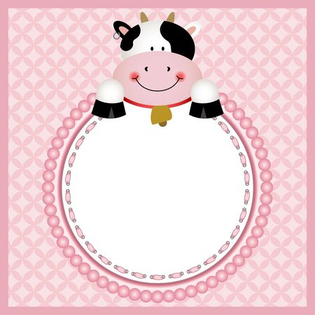 cute background: Cute cow in round frame background