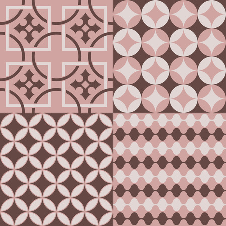 retro patterns: Seamlessly retro patterns pink and brown