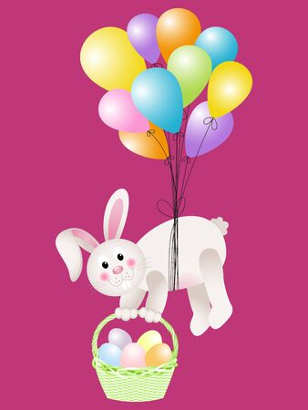 flying float: Bunny carrying basket Easter eggs flying with balloons Illustration