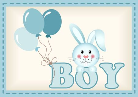 child birth: Baby bunny and balloons with word boy Illustration