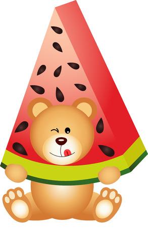 summer diet: Teddy bear eating watermelon Illustration