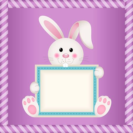 blank label: Cute bunny holding blank label