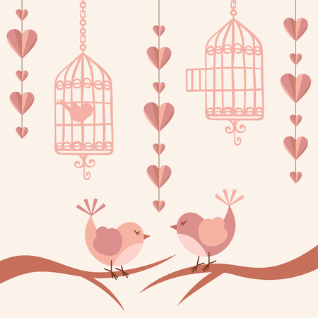couple nature: Love card with birds